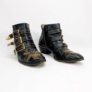 CHLOE Susanna Studded Leather Ankle Boots Black
